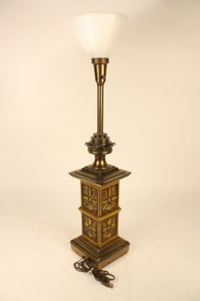 Vintage Painted Metal And Brass Lamp