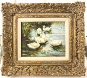 Oil Of Canvas Duck Scene