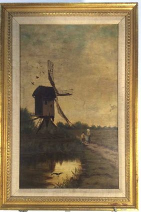 Oil Painting On Canvas Dutch Windmill