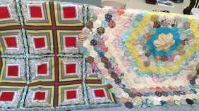 2 Vintage Hand Made Patchwork Quilts