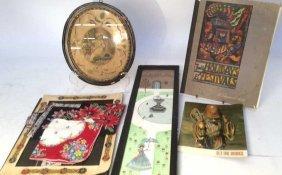 Vintage Painted Tiles Embroidery Hankies Frame