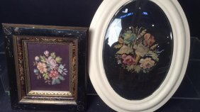 Two Framed Floral Needle Points