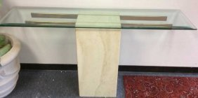 Mid Century Modern Marble Glass Console Table