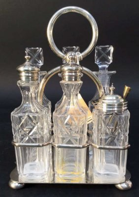 Antique Sterling And Crystal Cruet Set
