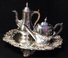 Antique Silver Plate Salver, Coffee Pot & Tea Pot