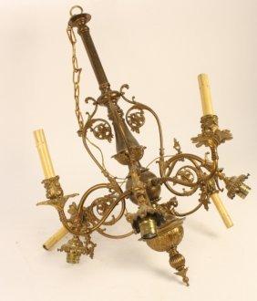 1940s Brass Gilded Chandelier Ornate 8 Arm Chandelier