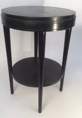 Painted Black Wood Round Side Table Vintage End Table