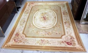 French Aubusson Wool Area Rug Gold Boarder With Floral