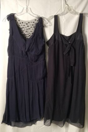 Two Evening Cocktail Dresses Lot Includes One Navy