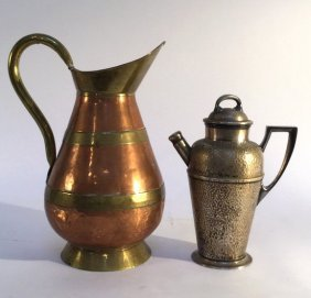 Two Iron Water Pitchers Vintage Style Two Vintage Old