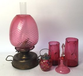 Cranberry Glass Oil Lamp Bell Pitchers & Jar Cranberry