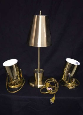 Group Lot Brass Lighting 3 Pieces One Petite Table Top