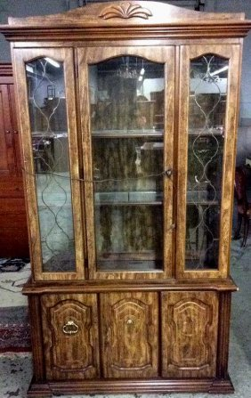 Wood And Glass Display Case Or China Cabinet Wired For