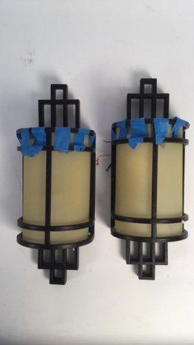 Pair Contemporary Glass & Brass Light Sconces