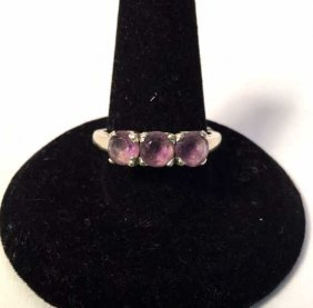 3 Stone Amethyst & 14k Women's Ring