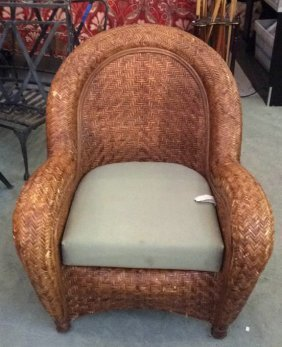 Wicker Large Patio Lounge Chair Wicker Chair With Green