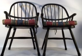Pair Of Black Windsor Kitchen Arm Chairs Pair Of Black