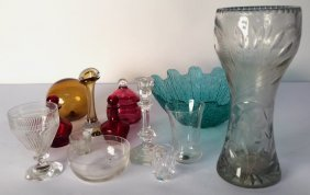 13 Piece Decorative Glass Group Lot Two Red Glass