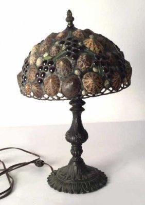 Vintage Lamp Signed Hoogin Vintage Iron Base Shell Lamp