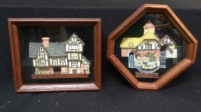 David Winter Framed House Pottery Two Pieces Of Framed