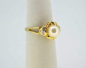 Natural Akoya Pearl & Diamond 14K Gold Ring