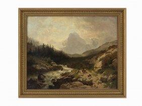 Wilhelm Velten, Mountain Paysage With Travelers, Oil On