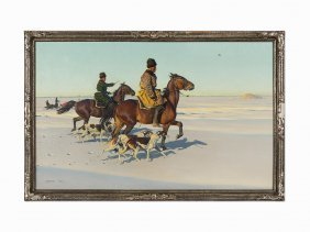Hugo Ungewitter, Hunting On The Snow-covered Steppes,