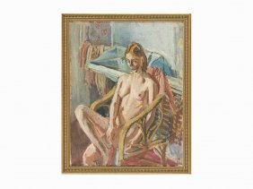 Lazare Volovick , Nude Sitting In An Armchair, Oil On