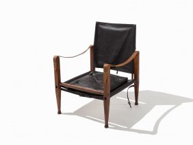 Kaare Klint Leather Safari Lounge Chair, Denmark, Ca.