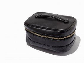 Chanel, Vintage Black Leather Cosmetic Case, C.1991