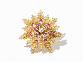 David Webb, 18k Yellow Gold, Platinum, Ruby, & Diamond