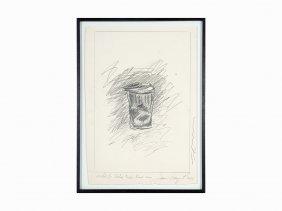 James Rosenquist, 'sketch For Kalyx Krater Trash Cans',