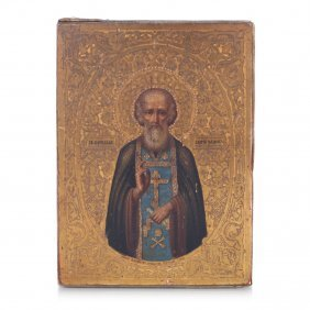 Russian Icon Saint Sergiy Radonezskiy. Workshop Of Ivan