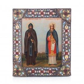 Russian Icon Of Saint Pavel Kievo-pecherski And Saint