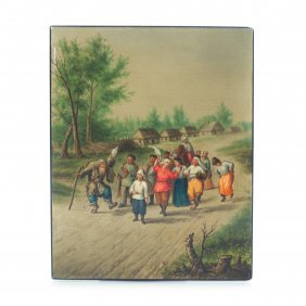 """Russian Lacquer Plate """"dancing At The Khutor""""."""