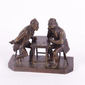 """Bronze Figure """"gamblers""""."""