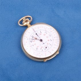 Gold Pocket Watch With Chronograph.