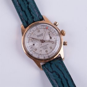 """dreffa Geneve"" Gold Plated Chronograph Wristwatch."