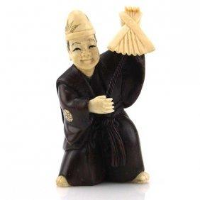 Antique Japanese Carved Wood And Ivory Netsuke.