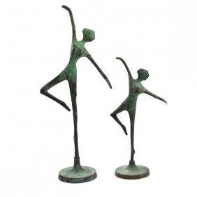 Graduated Pair Of Bronze Ballerinas Sculptures.