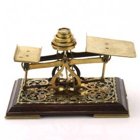 Antique Brass And Wood Letter Postal Scales, Circa 1900