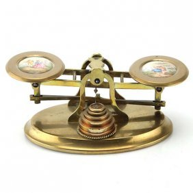 Howell James & Co Brass And Porcelain Postal Scales.
