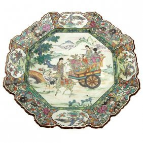 Chinese Porcelain Large Clobbered Plate 19th Century.