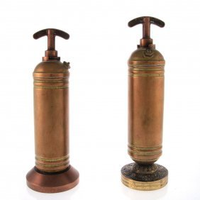Two Antique Brass Hand Pump Fire Extinguishers.
