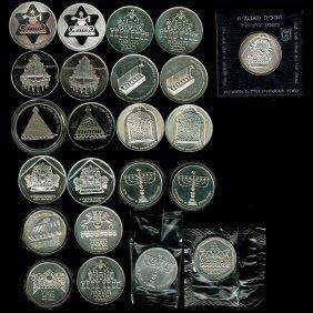 19 Hanukkah Silver Coins, Israel, 1972-1987.