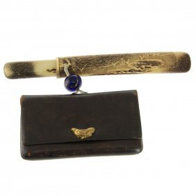 Japanese Kiseru Tobacco Smoking Pipe, Pipe Case & Pouch