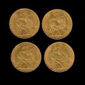 4 France 20 Francs Gold Coins, 1907-1911.