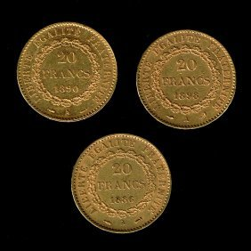 3 France 20 Francs Gold Coins, 1886-1898.