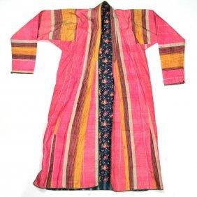Uzbek Robe, Ikat Silk On Cotton, Men Cut, Circa 1860.