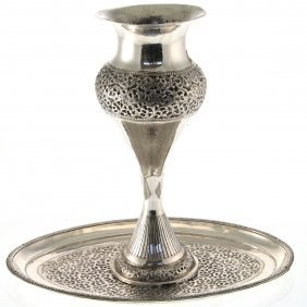 Persian Silver Vase On Tray, Circa 1940.